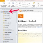 Find ikonet for RSS i venstre mappe menu i din Outlook 2010