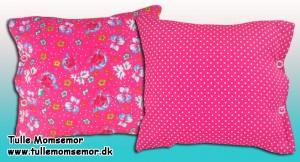 Pink pudebetræk med prik og blomst