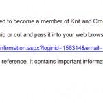 Knit and Crochet Now oprettelse bekræftet