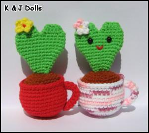 Valentines Kaktus i et thekrus