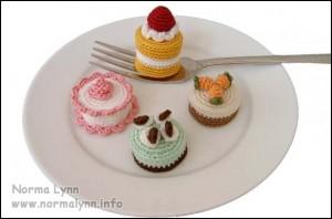Hæklede flødekager - Mini Cakes