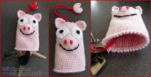 Hæklet grise-nøgle-etui